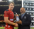 15.11.14 - Wales v Fiji - Dove Men Series - Liam Williams of Wales with his man of the match award at the end of the game. © Huw Evans Picture Agency