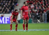 Jamie Roberts and Leigh Halfpenny in France v Wales 28/02/2015