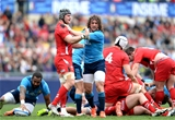 21.03.15 - Italy v Wales - RBS 6 Nations 2015 - Mauro Bergamasco of Italy gets to grips with Dan Lydiate of Wales.