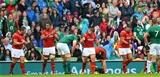 29.08.15 - Ireland v Wales - Guinness Summer Series -Aaron Jarvis, Taulupe Faletau, Scott Williams and Scott Baldwin of Wales celebrate win.