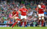 29.08.15 - Ireland v Wales - Guinness Summer Series -Leigh Halfpenny of Wales kicks at goal.