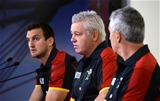 31.08.15 - Wales Rugby World Cup Squad Announcement -WRU Chairman Gareth Davies names the Wales Rugby World Cup squad with head coach Warren Gatland and captain Sam Warburton (left).