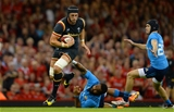 05.09.15 -  Wales v Italy - Dove Men Test 2015 -Luke Charteris of Wales is tackled by Samuela Vunisa of Italy.