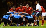 20.09.15 - Wales v Uruguay - Rugby World Cup 2015 -Samson Lee, Scott Baldwin and Paul James of Wales.