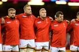 20.09.15 - Wales v Uruguay - Rugby World Cup 2015 -Tomas Francis, Dominic Day, Ross Moriarty and Aaron Jarvis line-up for the anthems.
