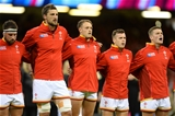 20.09.15 - Wales v Uruguay - Rugby World Cup 2015 -Scott Baldwin, Luke Charteris, Cory Allen, Gareth Davies and Scott Williams line-up for the anthems.