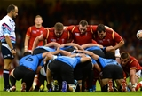 20.09.15 - Wales v Uruguay - Rugby World Cup 2015 -Tomas Francis, Ken Owens and Aaron Jarvis of Wales.
