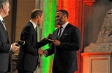 21.09.15 - Wales Rugby World Cup Welcome Ceremony -Jamie Roberts is presented his 2015 Rugby World Cup cap by HRH Duke of Cambridge.
