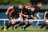 24.09.15 - Wales Rugby World Cup Training -Scott Williams, Alun Wyn Jones, Gareth Davies and Jake Ball during training.