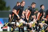 24.09.15 - Wales Rugby World Cup Training -Alun Wyn Jones, Scott Williams and Gareth Davies during training.