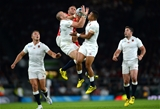 26.09.15 - England v Wales - Rugby World Cup 2015 -Jamie Roberts of Wales competes in the air with Mike Brown and Anthony Watson of England.