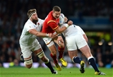 26.09.15 - England v Wales - Rugby World Cup 2015 -Scott Williams of Wales is tackled by Geoff Parling and Joe Marler of England.