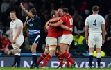 26.09.15 - England v Wales - Rugby World Cup 2015 -Alun Wyn Jones, Gethin Jenkins and Jamie Roberts of Wales celebrate at the final whistle.