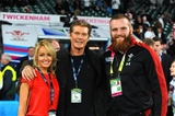 26.09.15 - England v Wales - Rugby World Cup 2015 -Hayley Roberts, David Hasselhoff and Jake Ball.