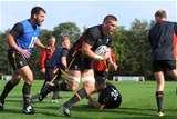 29.09.15 - Wales Rugby Training -Dan Lydiate during training.