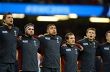 01.10.15 - Wales v Fiji - Rugby World Cup 2015 -Luke Charteris, Scott Baldwin, Taulupe Faletau, Matthew Morgan and Dan Biggar during the anthems.