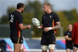 06.10.15 - Wales Rugby Training -Jamie Roberts and Dominic Day during training.