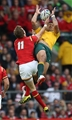 10.10.15 - Australia v Wales - Rugby World Cup - Liam Williams of Wales and Israel Folau of Australia go high for the ball.