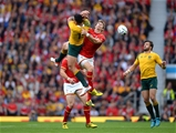 10.10.15 - Australia v Wales - Rugby World Cup 2015 -Israel Folau of Australia and Liam Williams of Wales compete for high ball.