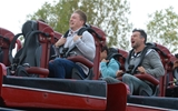 14.10.15 - Wales Rugby Squad Visit Thorpe Park -(Left to Right) Tyler Morgan and Mike Phillips enjoy the rides at Thorpe Park.