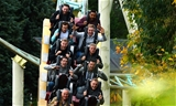 14.10.15 - Wales Rugby Squad Visit Thorpe Park -(From front row to back) James King, James Hook, Mike Phillips, Ross Moriarty, Gareth Anscombe, Matthew Morgan, Tyler Morgan, Alex Cuthbert and Taulupe Faletau enjoy the rides at Thorpe Park.