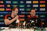 15.10.15 - Wales Rugby Team Announcement -Alun Wyn Jones (left and Sam Warburton talks to media.