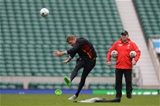 16.10.15 - Wales Rugby Training -Rhys Priestland kicks as Neil Jenkins looks on during training.