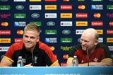 16.10.15 - Wales Rugby Media Interviews -Gareth Anscombe and Neil Jenkins (right) talks to media.