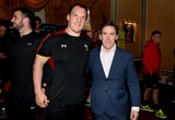 16.10.15 - Actor and Comedian Rob Brydon meets Gethin Jenkins after presenting match jerseys to the Wales rugby squad ahead of their Rugby World Cup quarter final tomorrow against South Africa.