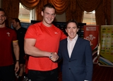 16.10.15 - Actor and Comedian Rob Brydon meets Dan Lydiate after presenting match jerseys to the Wales rugby squad ahead of their Rugby World Cup quarter final tomorrow against South Africa.