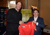 16.10.15 - Actor and Comedian Rob Brydon presents a match jersey to Alun Wyn Jones and the Wales rugby squad ahead of their Rugby World Cup quarter final tomorrow against South Africa.