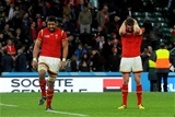 17.10.15 - South Africa v Wales - Rugby World Cup Quarter Final 2015 -Taulupe Faletau and Alex Cuthbert of Wales look dejected at the end of the game.
