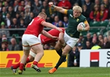 17.10.15 - South Africa v Wales, Rugby World Cup 2015 Quarter Final - Adriaan Strauss of South Africa is tackled by Alun Wyn Jones of Wales