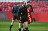 03.02.16 - Wales rugby training session, Principality Stadium - Jamie Roberts during a training session at the Principality Stadium ahead of the Six Nations match against Ireland
