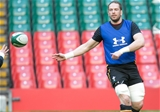 03.02.16 - Wales rugby training session, Principality Stadium - Alun Wyn Jones during a training session at the Principality Stadium ahead of the Six Nations match against Ireland