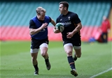 03.02.16 - Wales Rugby Training - Aled Davies and Gareth Davies during training.