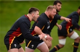 06.02.16 - Wales Rugby Training -(L-R) Rob Evans, Samson Lee and Scot Baldwin during training.