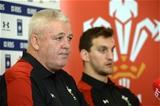 11.02.16 - Wales Rugby Team Announcement -Warren Gatland and Sam Warburton (right) talk to media.