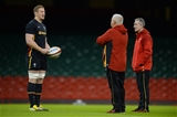12.02.16 - Wales Rugby Training -Bradley Davies, Warren Gatland and Rob Howley during training.