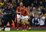13.02.16 - Wales v Scotland - RBS 6 Nations 2016 -Gareth Davies of Wales celebrates his try with George North.