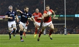 13.02.16 - Wales v Scotland, RBS 6 Nations 2016 - Gareth Davies of Wales beats Sean Maitland of Scotland to score try