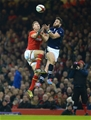 13.02.16 - Wales v Scotland - RBS 6 Nations 2016 -Liam Williams of Wales and Tommy Seymour of Scotland compete for high ball.