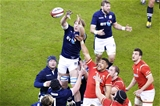 13.02.16 - Wales v Scotland - RBS 6 Nations 2016 - Taulupe Faletau of Wales challenges Jonny Gray of Scotland in the line out