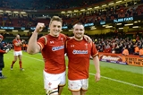 13.02.16 - Wales v Scotland - RBS 6 Nations 2016 -Jonathan Davies and Ken Owens of Wales at the end of the game.