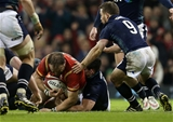 13.02.16 - Wales v Scotland - RBS 6 Nations 2016 - Jamie Roberts of Wales scores a try.
