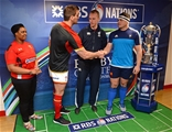 26.02.16 - Wales v France - RBS 6 Nations 2016 -Sam Warburton of Wales and Guilhem Guirado of France during the coin toss.