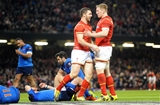 26.02.16 - Wales v France - RBS 6 Nations 2016 -George North of Wales celebrates his try with Bradley Davies.