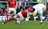 12.03.16 - England v Wales - RBS 6 Nations - Taulupe Faletau of Wales tackles Billy Vunipola of England.