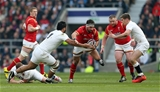 12.03.16 - England v Wales - RBS 6 Nations - Scott Baldwin of Wales is tackled by Billy Vunipola and Owen Farrell of England.