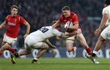12.03.16 - England v Wales - RBS 6 Nations - Rhys Priestland of Wales is tackled by Jack Clifford of England.